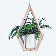 Scandi Beech Pyramid Hanger With Pot 32x42cm