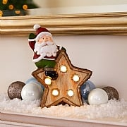 Santa On A Star LED Ornament