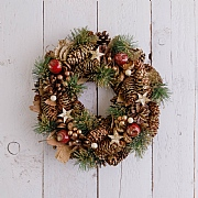 Glitter Pine Cone & Golden Stars Wreath 35cm