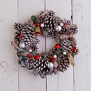 Snowy Red Berry & Pine Cone Wreath 35cm