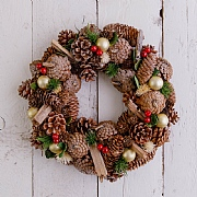 Pine Cone & Gold Bauble Wreath 35cm