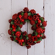Red Berry & Pine Cone Wreath 35cm