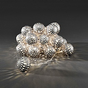 Konstsmide 24 Warm White LED Silver Metal Ball String Lights