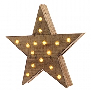 20 Warm White LED Wooden Star