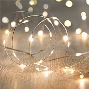 60 Warm White Micro LED Christmas Lights with Silver Cable (Battery Operated)