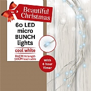 60 Cool White LED Battery Operated Micro Bunch Lights (Silver Cable)