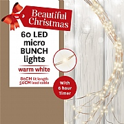60 Warm White LED Battery Operated Micro Bunch Lights (Copper Cable)