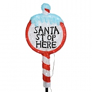 Acrylic LED Santa Stop Here Sign 67cm