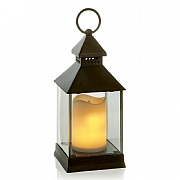 Christmas Lantern with Flickering Warm White LEDs 24cm