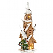 Wooden LED Lit Church 40cm (Battery Operated)