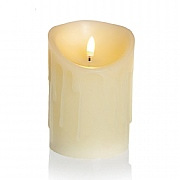 Melted Edge Flicker LED Candle Cream 13 x 9cm (Battery Operated)
