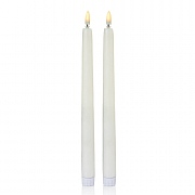 Set of 2 White Taper Candles with Flickerbright Flame