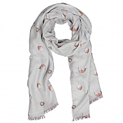 Wrendale 'Jolly Robin' Grey Scarf