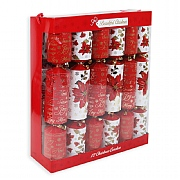 Beautiful Christmas Poinsettia Christmas Crackers - 12 Pack