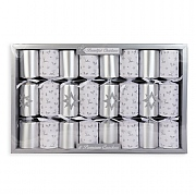 Beautiful Christmas Silver Glitter Premium Christmas Crackers - 8 Pack