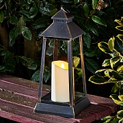 Chichester Lantern Black with Gold Brush