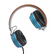 Intempo Leather Effect Headphones - Blue