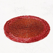 Red Beaded Coasters (Set of 4)