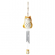 Smart Solar Ceramic Cat Windchime