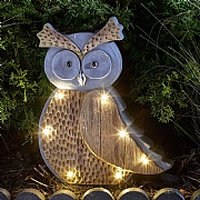 Smart Solar Wood Stone In-Lit Owl