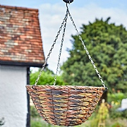 Cheviot Faux Rattan Hanging Basket 14""