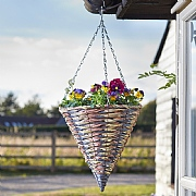 Cheviot Faux Rattan Hanging Cone 14""
