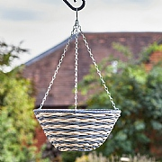 Brecon Faux Rattan Hanging Basket 14""