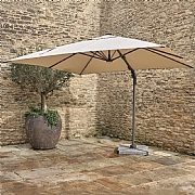 Bramblecrest Truro 3m Square Sand LED Side Post Parasol with Base