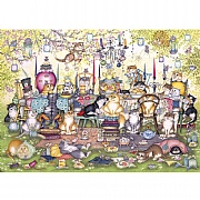 Gibsons Mad Catter's Tea Party 1000 Piece Jigsaw Puzzle