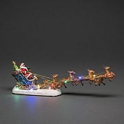 Konstsmide Fibre Optic Santa in Sleigh with Reindeer (Battery Operated)