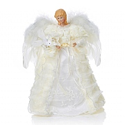 Premier White Tree Top Angel with Feather Wings 30cm