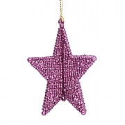 Gisela Graham Mauve Glitter 3D 5 Point Star Decoration