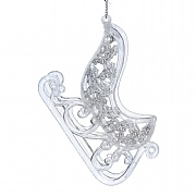 Gisela Graham Clear Acrylic & Silver Glitter Sleigh Decoration