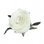 Gisela Graham White Fabric Rose Clip
