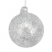 Gisela Graham Crushed Silver & White Glitter Bauble