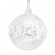 Gisela Graham Clear Glass Bauble with Iridescent Icicle Band