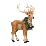 Gisela Graham Resin Reindeer with Wreath Decoration