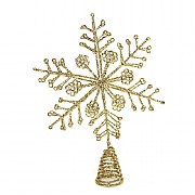 Gisela Graham Gold Glitter Wire Snowflake Tree Topper