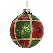 Gisela Graham Red, Green & Gold Plaid Glass Bauble