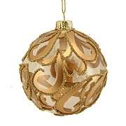 Gisela Graham Clear Glass Bauble with Matt & Beaded Gold Swirls