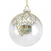 Gisela Graham Clear Soap Bauble with Gold Glitter Mesh Leaves