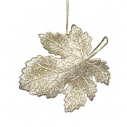 Gisela Graham Gold Glitter Leaf Decoration