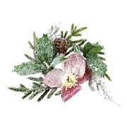 Gisela Graham Snowy Fir & Pink Hellebore Candlering Small