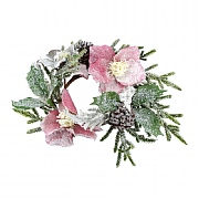 Gisela Graham Snowy Fir & Pink Hellebore Candlering Large