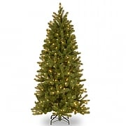 5.5ft Pre-Lit Bayberry Slim Spruce 'Feel Real' Artificial Christmas Tree