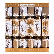 "Gold Deer 14"" Premium Christmas Crackers (Pack of 12)"