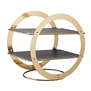 Artesà 2 Tier Brass Finish Serving Stand with Slate Platters