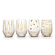 Mikasa Cheers Metallic Gold Set of 4 Stemless Wine Glasses (16.5oz)