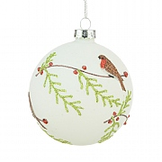 White Glass Robin Bauble 8cm