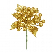 Gold Christmas Berry Pick 17cm